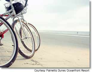 Beach and bikes at Palmetto Dunes Oceanfront Resort, Hilton Head Island, South Carolina