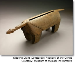 Slitgong Drum. Photo courtesy Museum of Musical Instruments