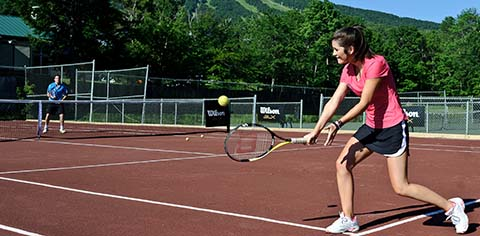 Red clay courts at Drysdale Tennis School at Stratton Mountain Resort, Vermont