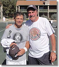 E.J. Kahn II with Legend John Newcombe during the Fantasy Tennis Camp