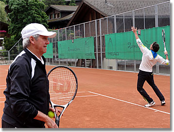 Roy Emerson teaching serve at Gstaad, Switzerland