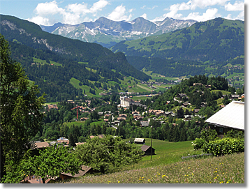View from Gstaad, Switzerland and Saanen Valley from above