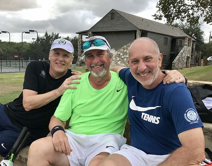 Campers Greg Arendt, Marty Judge and Marc Segan, living the Legends Week dream